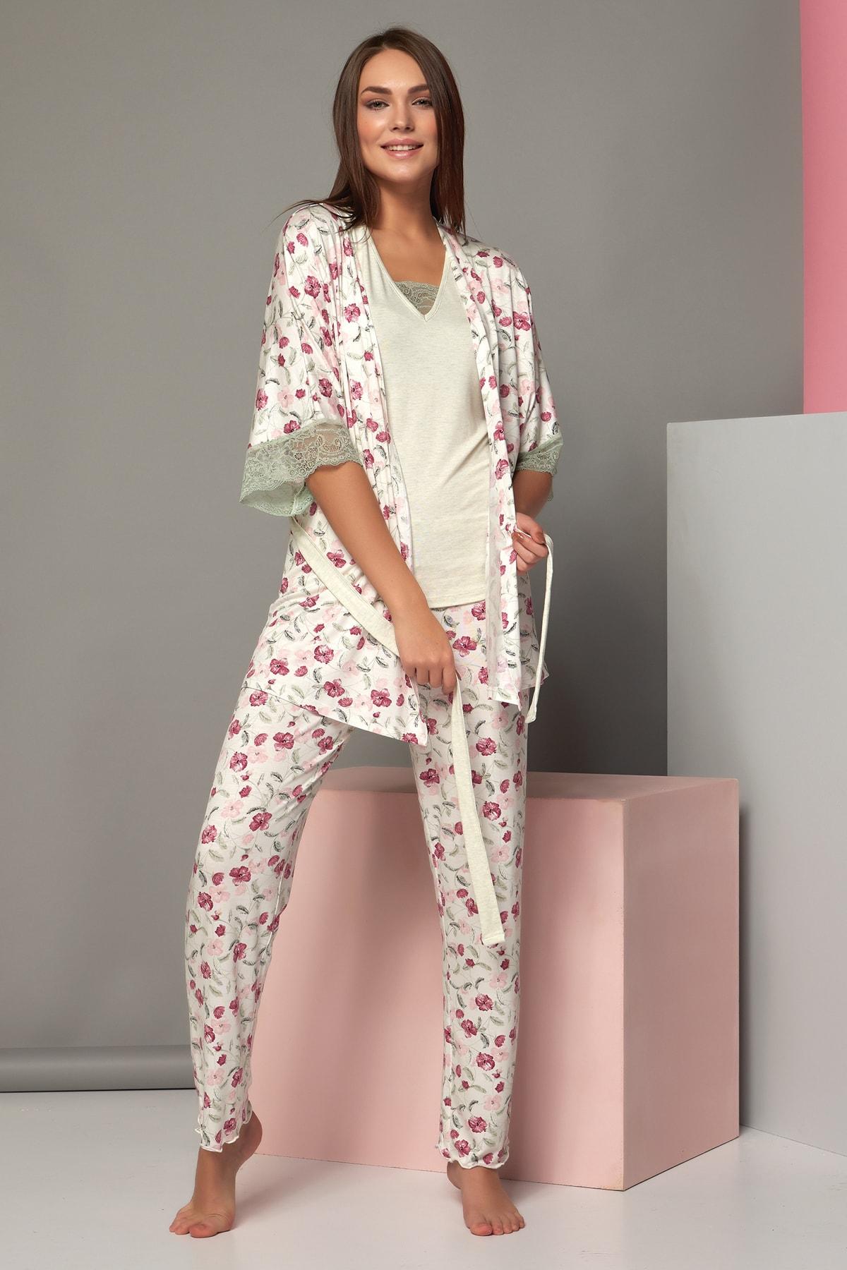 Kadın Çiçekli Kısa Kol 3'Lü Pijama Takımı