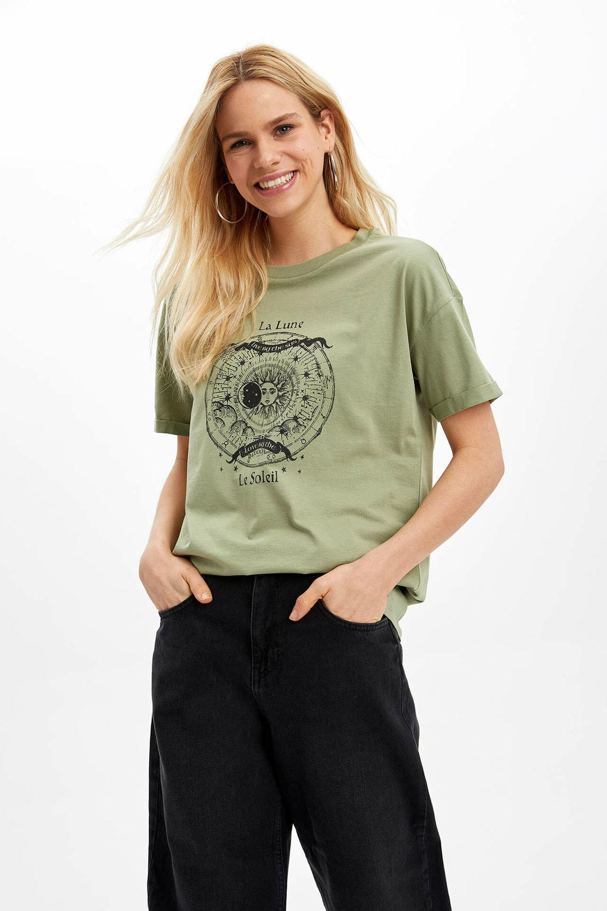 Oversize Fitslogan Baskılı Tişört