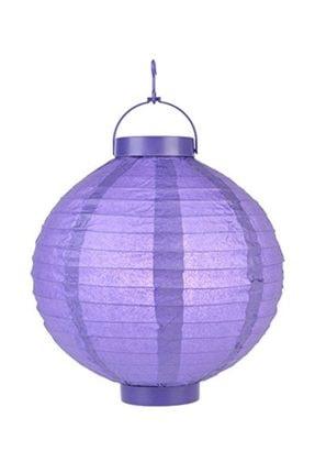 Pandoli 20 Cm Led Işıklı Kağıt Japon Feneri Lila Renk 0