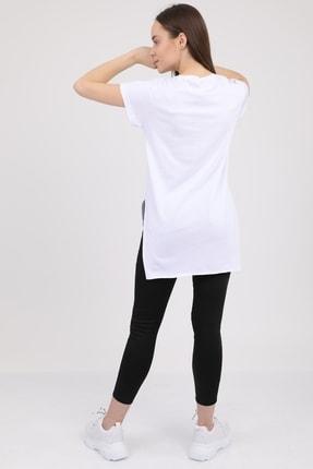 MD trend Kadın Beyaz V Yaka Yırtmaçlı Kısa Kol Pamuklu T-Shirt Mdt3025 4