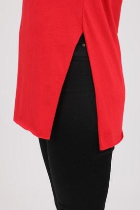 MD trend Kadın Kırmızı V Yaka Yırtmaçlı Kısa Kol Pamuklu T-Shirt Mdt3025 3