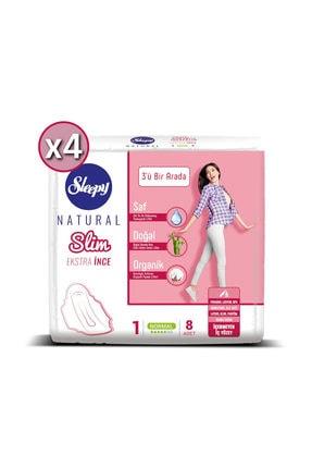 Sleepy Hijyenik Ped Natural Slim Ekstra İnce Normal - 8 Ped x 4 0