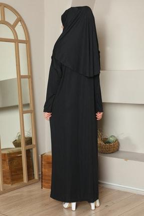 medipek Kolay Giyilebilen Tek Parça Namaz Elbisesi Siyah Büyük Beden 2