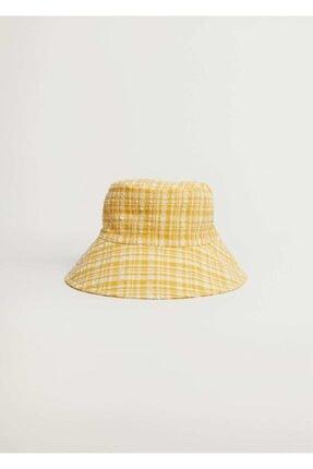 Mango Kadın Sarı Dokuma Bucket Şapka 87096317 2