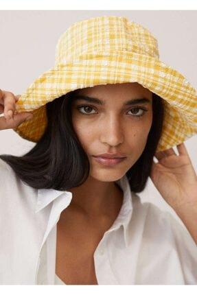 Mango Kadın Sarı Dokuma Bucket Şapka 87096317 3