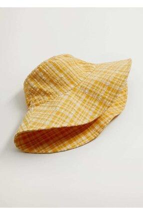 Mango Kadın Sarı Dokuma Bucket Şapka 87096317 4
