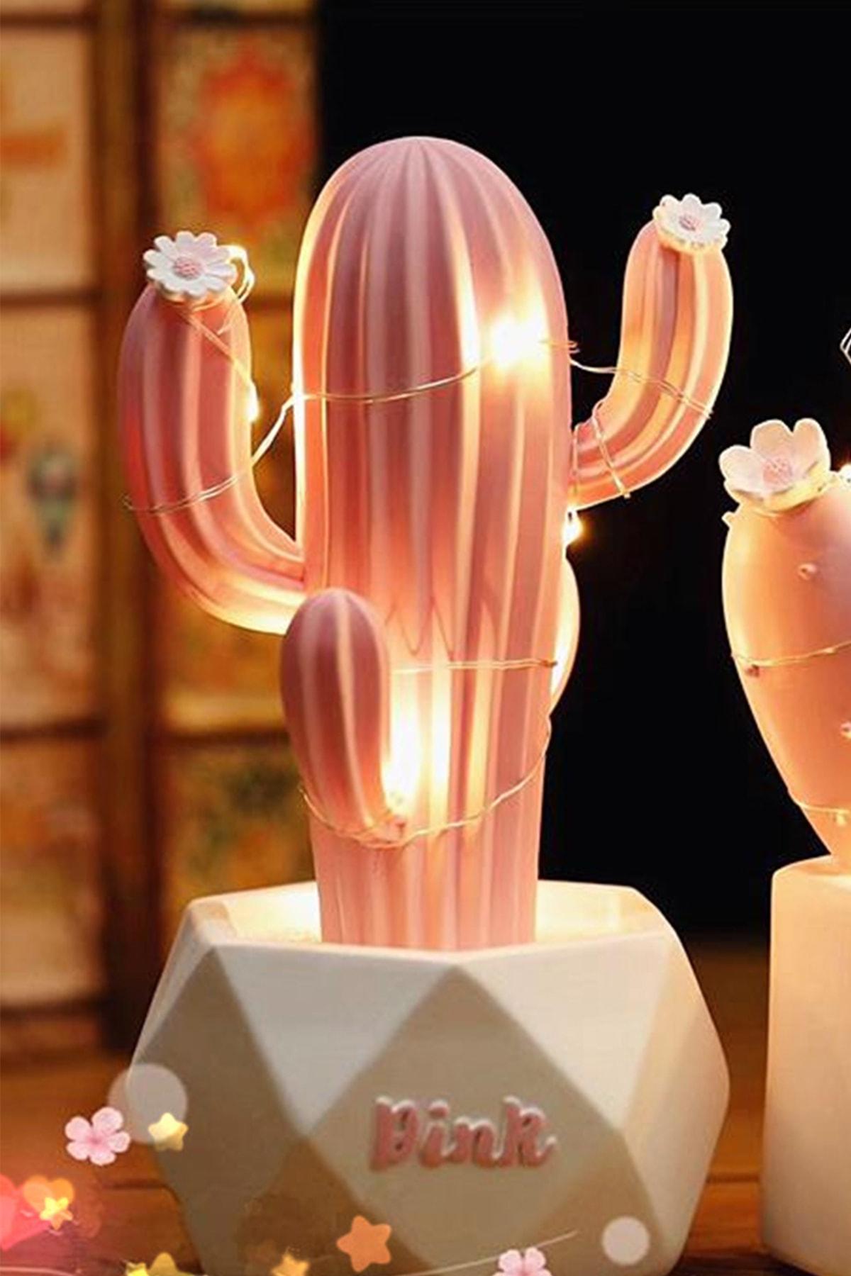 Led Işıklı Sevimli Kaktüs Dekoratif Masa Lambası Mini Biblo Gece Lambası-Pembe