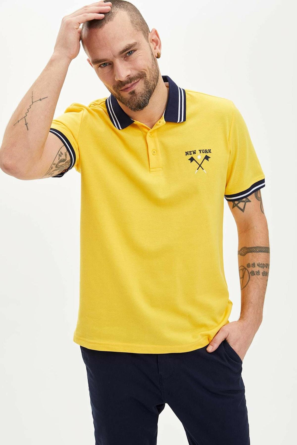 Erkek Sarı Slim Fit Polo Yaka New York Nakış İşlemeli Tişört N5765AZ20SMYL