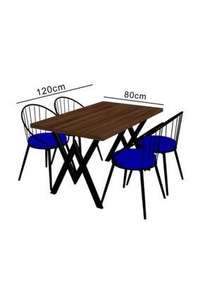 Evdemo Eylül 4 Kişilik Mutfak Masası Takımı Ceviz Kırmızı 1