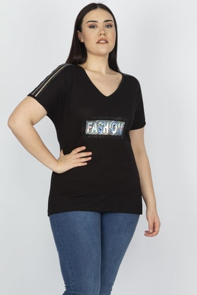 Şans Kadın Siyah Omuz Detaylı Viskon Bluz 65N15199 3