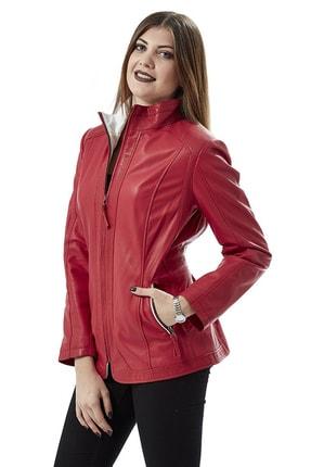 Deriza Kadın Dorette Kırmızı Deri Ceket 2075 2