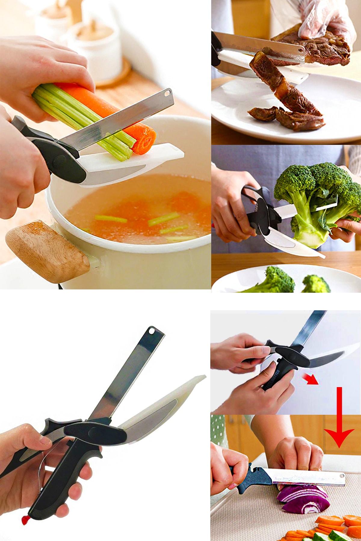 Helen's Home Düz Kesim Panolu Makas Sebze Meyve Et Doğrayıcı Mutfak Makası 0