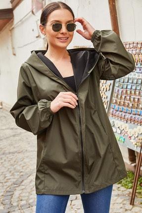 armonika Kadın Haki Fermuarli Kapişonlu Yağmurluk ARM-20K001187 2