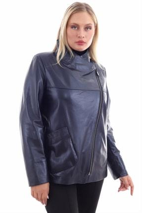 Kadın Lacivert Deri Ceket 1719 ZİK