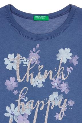 Benetton Mavi Kız Çocuk Kelebek Çiçek Baskılı Tshirt 1
