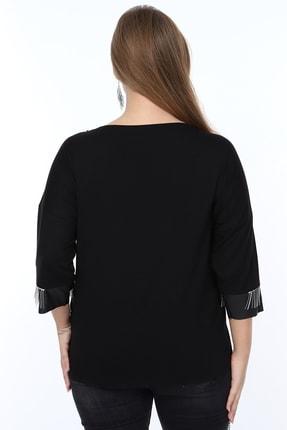 MJORA Kadın Siyah Deri Detaylı Zincir Saçaklı Bluz 2