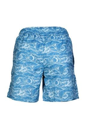 HUMMEL Erkek Mavi Desenli Deniz Şortu 3