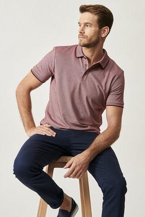Altınyıldız Classics Erkek Bordo Düğmeli Polo Yaka Cepsiz Slim Fit Dar Kesim Düz Tişört 2