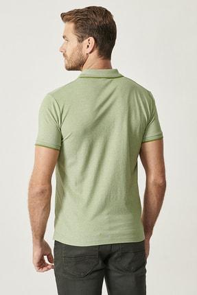 Altınyıldız Classics Erkek Yeşil Düğmeli Polo Yaka Cepsiz Slim Fit Dar Kesim Düz Tişört 4