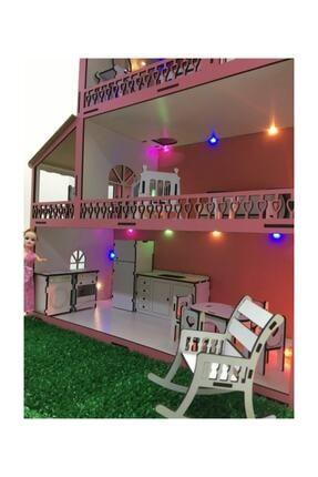 MYS Ahşap Işıklı Barbie Bebek Oyun Evi 3
