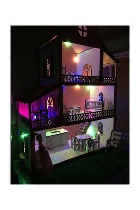 MYS Ahşap Işıklı Barbie Bebek Oyun Evi 4