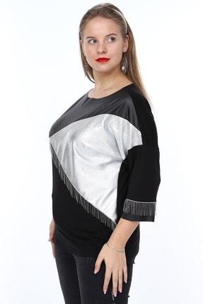 MJORA Kadın Siyah Deri Detaylı Zincir Saçaklı Bluz 4