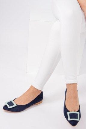 Fox Shoes Lacivert/Su Yeşili Kadın Babet H726900102 2
