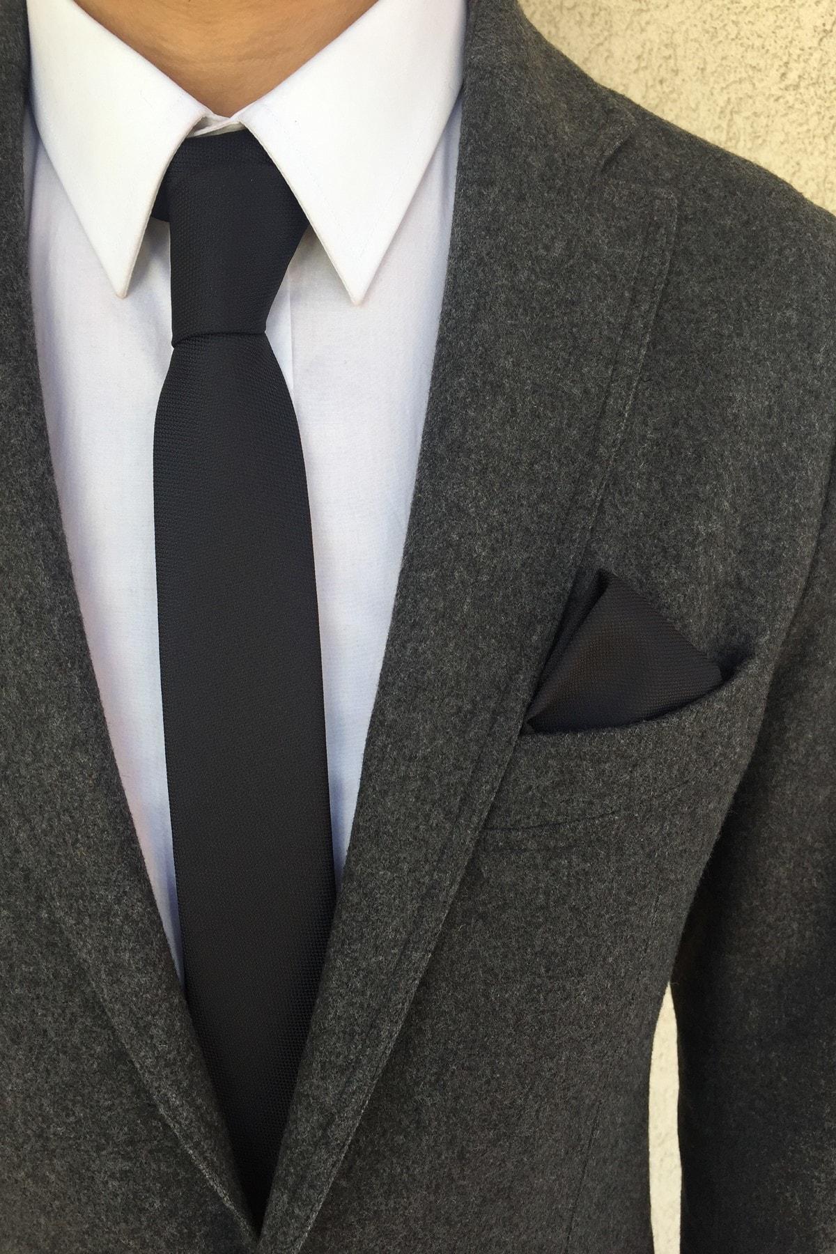 Siyah Kravat Mendil Seti
