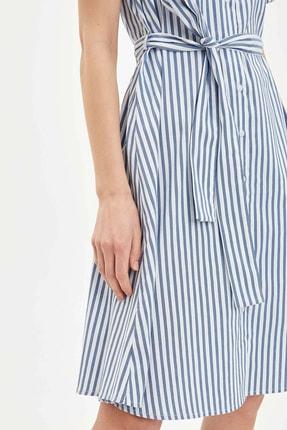Defacto Kadın Mavi Regular Fit Çizgili Dokuma Elbise N0545AZ.20SP.BE399 3