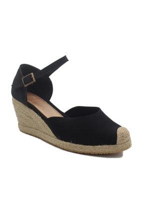 GokceKundura06 Dolgu Topuk Hasır & Keten Sandalet 0