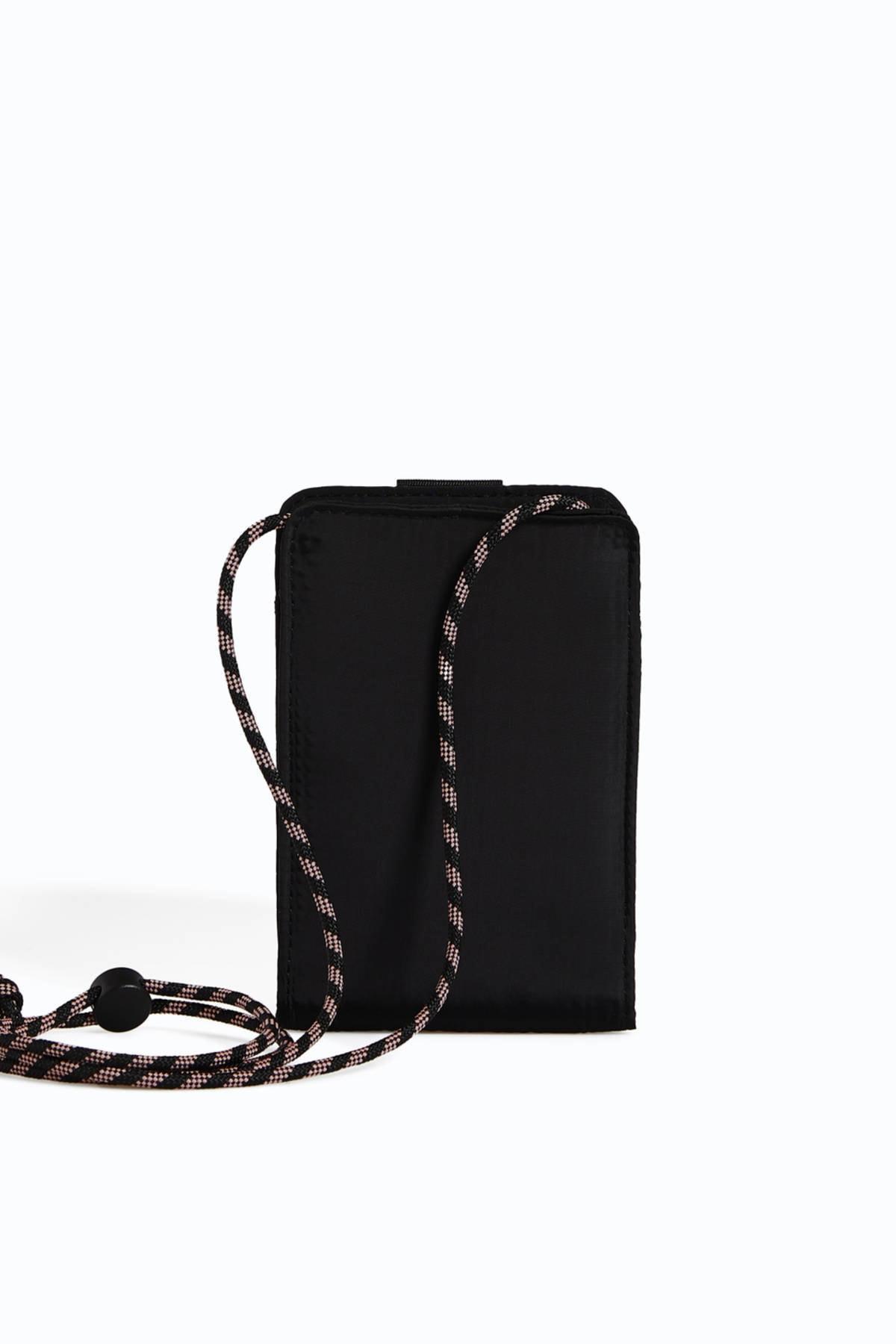 Oysho Kadın Siyah Omuz Askılı Cep Telefonu Çantası 0