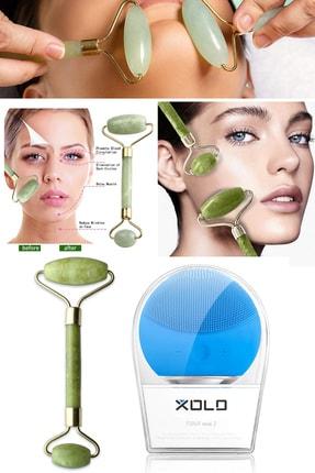 Xolo Şarj Edilebilir Mavi Yüz Temizleme Cihazı + Jade Roller 2'li Yeşim Taşı Masaj Aleti 0