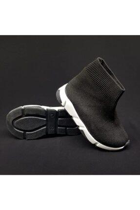 MİRKET Kadın Siyah Çoraplı Beyaz Taban Sneakers Ayakkabı 2