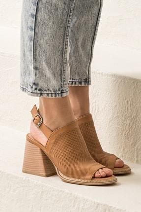 Elle PATRA Hakiki Deri Taba Kadın Sandalet 2