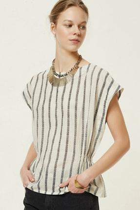 Yargıcı Kadın Lacivert Çizgili Kolsuz Bluz 0YKGM6116X 0