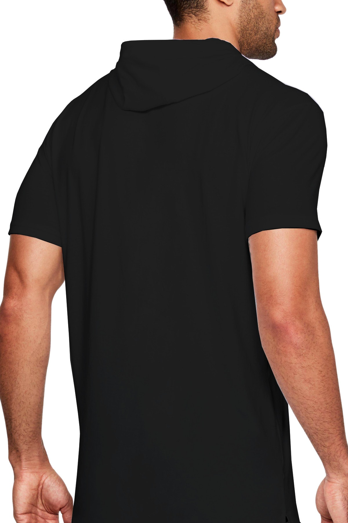 Rock & Roll Melek Şeytan Siyah Kapşonlu Kısa Kollu Erkek T-shirt 1
