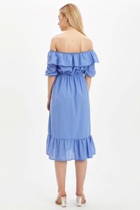 Defacto Kadın Mavi Desenli Regular Fit Elbise R1379AZ.20SP.BE1 4