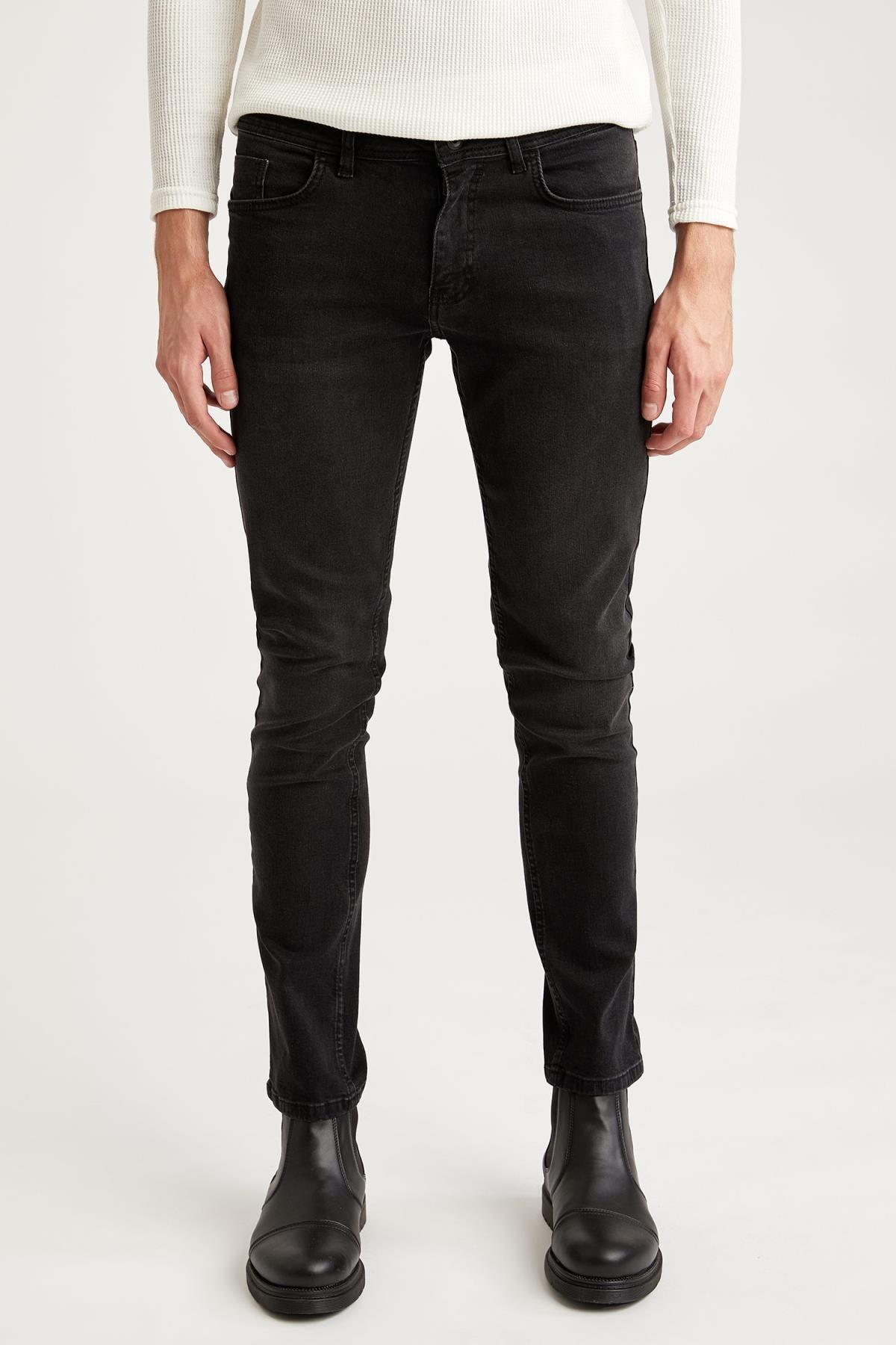 Defacto Pedro Slim Fit Normal Bel Dar Paça Siyah Jean Pantolon 0