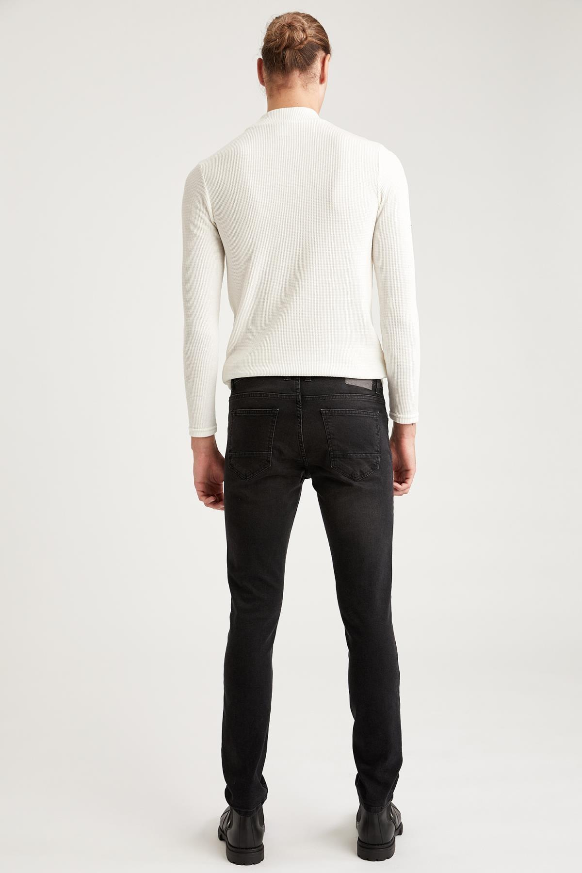 Defacto Pedro Slim Fit Normal Bel Dar Paça Siyah Jean Pantolon 1