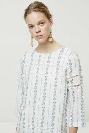 Yargıcı Kadın Lacivert Desenli Biye Detaylı Uzun Kollu Elbise 0YKEL7140X 2