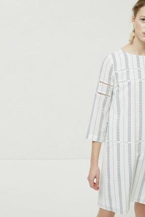 Yargıcı Kadın Lacivert Desenli Biye Detaylı Uzun Kollu Elbise 0YKEL7140X 1