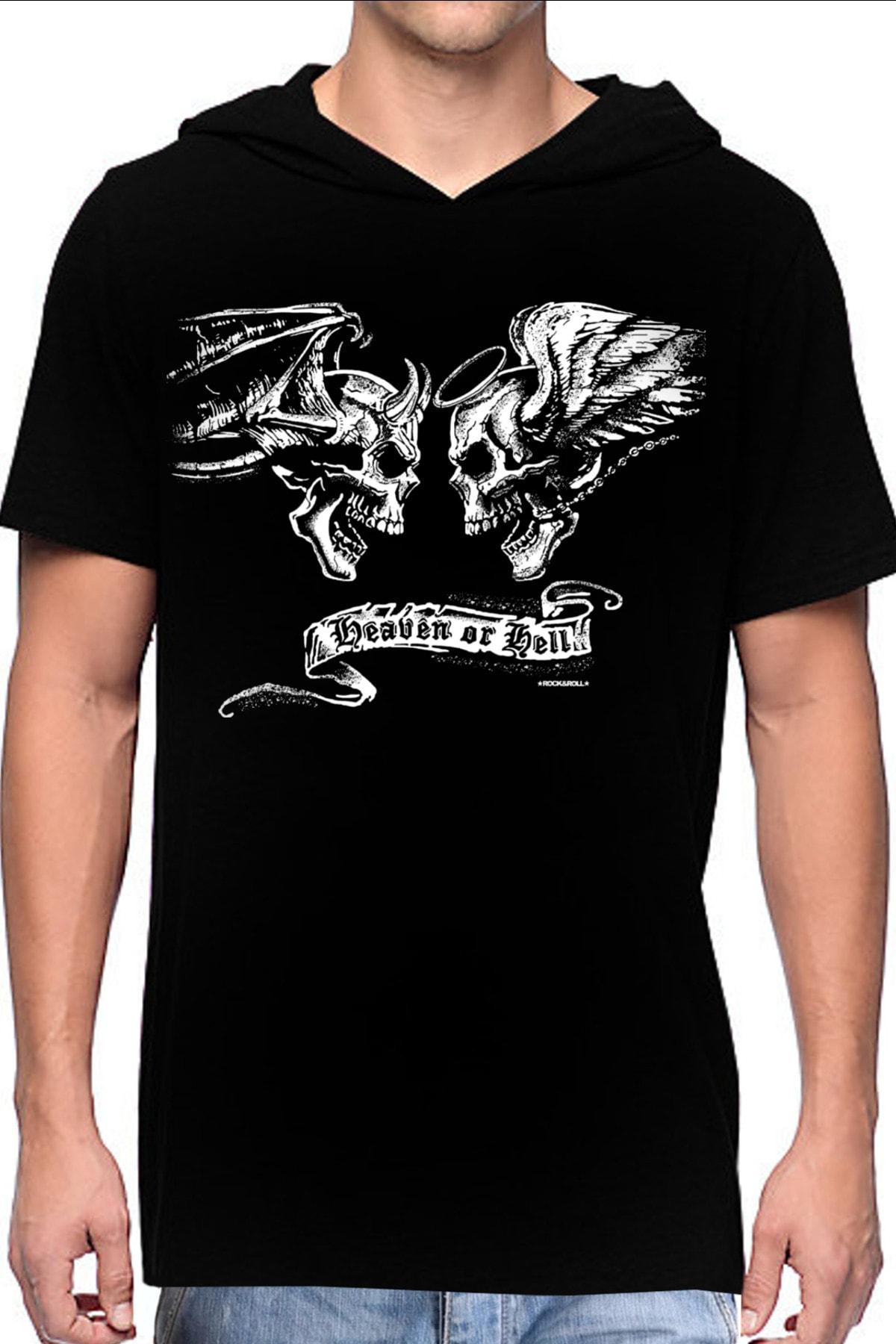 Rock & Roll Melek Şeytan Siyah Kapşonlu Kısa Kollu Erkek T-shirt 0