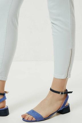 Yargıcı Kadın Buz Mavisi Fermuar Detaylı Denim Pantolon 0YKPN3132X 1