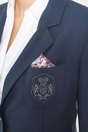 Journey Kadın Lacivert Ceket Mono Yaka-üst Cep Nakış Detaylı, Ön 2 Düğme 1