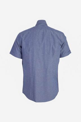 Kiğılı Kısa Kol Desenli Slim Fit Gömlek 1