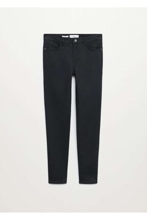 Mango Kadın Siyah Deri Görünümlü Skinny Push-Up Jean Pantolon 2