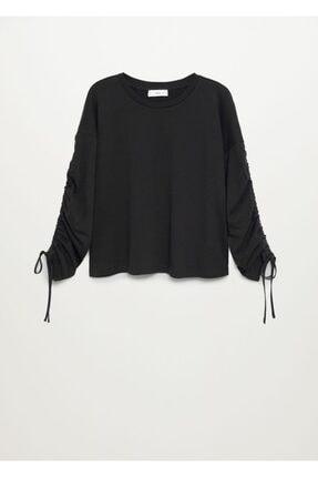 Mango Kadın Siyah Büzgülü Uzun Kollu Tişört 2