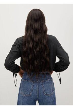 Mango Kadın Siyah Büzgülü Uzun Kollu Tişört 3