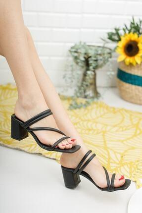meyra'nın ayakkabıları Kadın Siyah Çapraz Topuklu Terlik 2