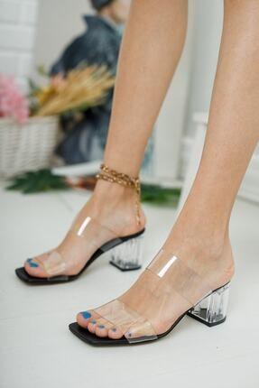 meyra'nın ayakkabıları Kadın Şeffaf Bant Ve Siyah Taban Topuk Detay Topuklu Ayakkabı 0